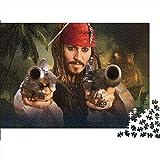 Puzzle para Adultos 1000 Piezas Captain Jack Sparrow Classic Adult Children's Brain Challenge Set Puzzle Piratas del Caribe Color Puzzle, Juego de Habilidad para Toda la Familia 38x26cm
