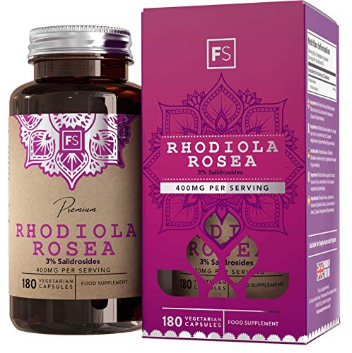 FS Rhodiola Rosea Capsules | 400mg Per Serving | 180 Vegan Tablets | Rosea Extract 3% Salidrosides | Nootropic Adaptogen Supplement | Non GMO | Dairy, Allergen & Gluten Free | Made in The UK