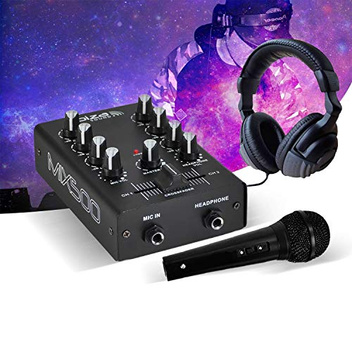 2-kanaals mixer, 2 line-ingangen, 1 microfooningang, stereo hoofdtelefoon, microfoon, zwart