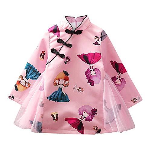 Baby Girl Cheongsam Long Sleeve Chinese Dress Toddler Cheongsam Cloth Cheongsam Costume for Infant(100-Pink)
