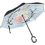 Wheatleya Paraguas Pastel de Pascua Paraguas Plegable inverso Protección UV a Prueba de Viento con Mango en Forma de C