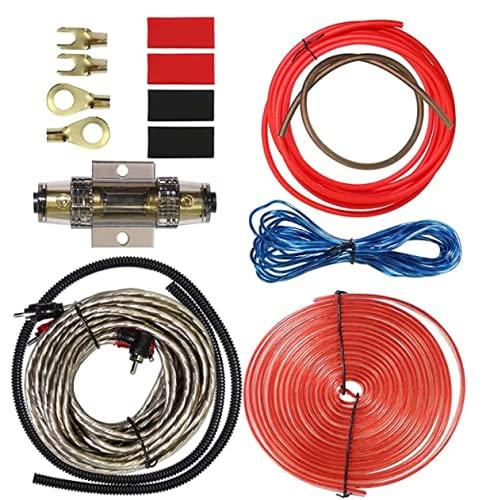 Kit Cableado Car Audio Juego Cables Amplificador De Coche para Sistema De Car Audio 2000 W Etapa De Potencia Coche Kit Electronica con Cable De Audio De Modificación 25 Mm² 8Ga Cable RCA, Cobre