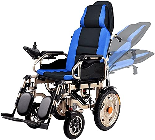 MENG Electric Wheelchair with High Backrest and Full Reclining Shock-Absorbing Foldable Electric Wheelchair Scooter for The Elderly and The Disabled,Blue