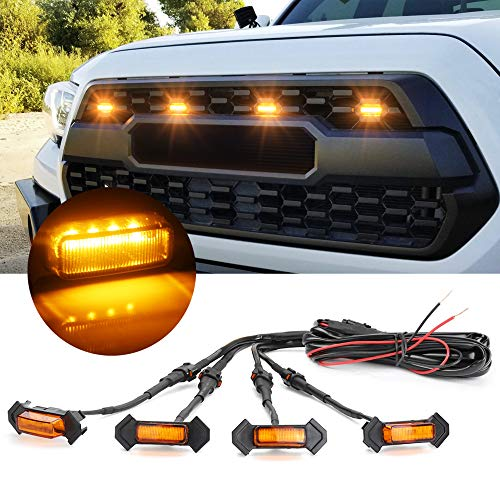 OXILAM LED Grille Lights Amber Yellow with Fuse for Tacoma TRD PRO Front Grille 2016 2017 2018 (4PCS, Amber Shell with Amber Light)
