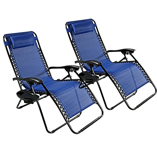 Castlebayz 2 Pack Adjustable Folding Zero Gravity Recliner Chairs Lounge Deck Chair with Pillow & Cup Holder for Patio Outdoor Yard Beach (Blue)