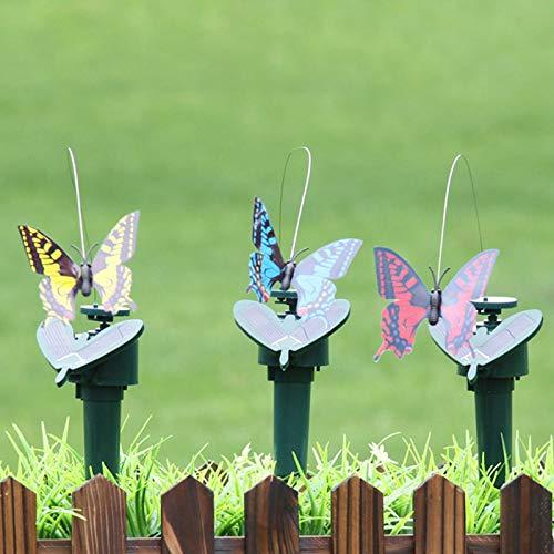 3 Stück Solar/batteriebetriebene fliegende flatternde Schmetterlinge Kolibri-Schmetterlinge Sonnenblume für Garten Hof Pflanzen Blumen Terrasse Landschaft Dekor (zufällige Farbe)