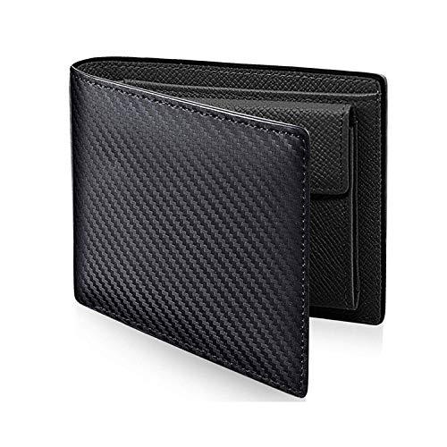 Portemonnee van koolstofvezel voor heren, dubbele clip, portemonnee, portefeuille met bitwissel, meerdere kaarten,  Blanco Y Gris (zwart) - dhrye69548051