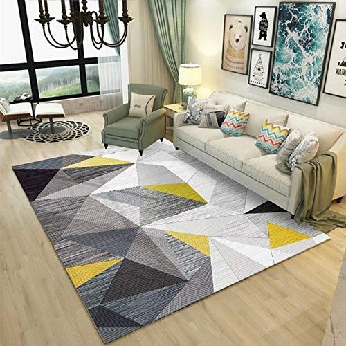 Pgron Home Design Bambini Semplice Decorazioni Ikea Moderno Geometrico Salotto Camera da Letto Esterno Pelo Corto Tappeti Triangolo Giallo Senape Grigio Velluto di Cristallo Semplice 160×230CM