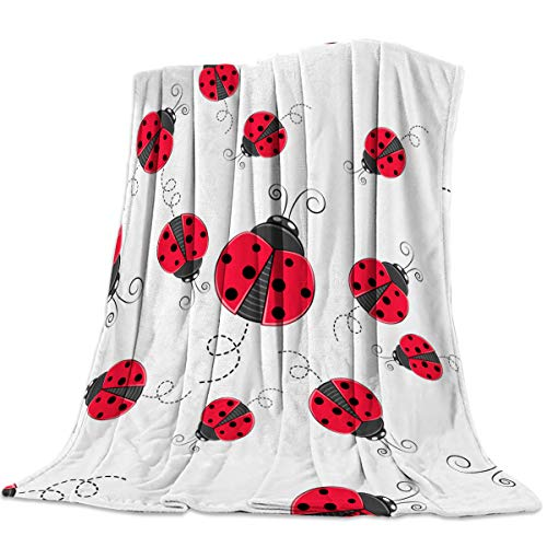 FortuneHouse8 Flannel Fleece Blanket Christmas Red Ladybug Super Soft Warm Cozy Bed Couch or Car Throw Blanket for Children Adult Travel All Reason 40x50inch