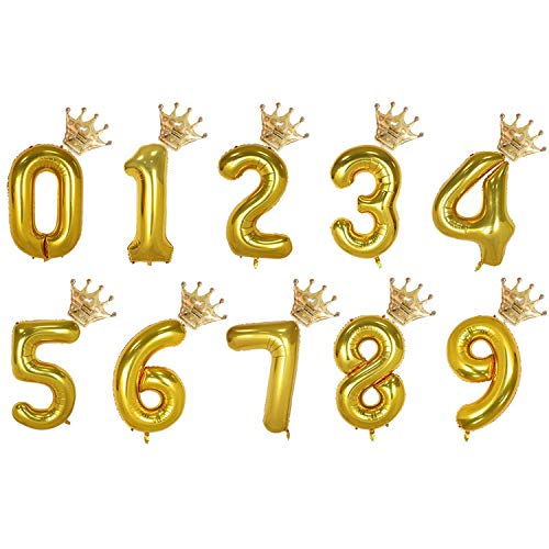 2Pcs 32Inch Number Balloons Foil Digit Air With 16Inch Crown Kids Birthday Party Wild One Baby Shower Decorations Supplies,Gold,0