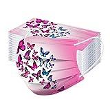 Lomelomme 50 Stück Schmetterling Lustige Mundschutz Einweg Erwachsene Mund-Nasenschutz Weihnachten Atmungsaktiv Bandana Halstuch Schals for Mund und Nasenschutz