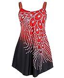 FEOYA Mujer Vestido de Baño Tirantes 2 Piezas Vestido de Camisola y Pareo Traje de Baño Estampado de Plumas Ropa de Baño para Deportes Acuáticos Color Rojo Talla 4XL