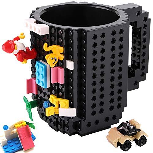 Sinnsally Build Tasse Brick Mug Becher,Ostern Vatertag Geburtstag Einschulung Weihnachtengeschenk Idee,Personalisierte Geschenk für Männer Frauen Mama Kinder Papa Junge,Kompatibel für Lego (schwarz)