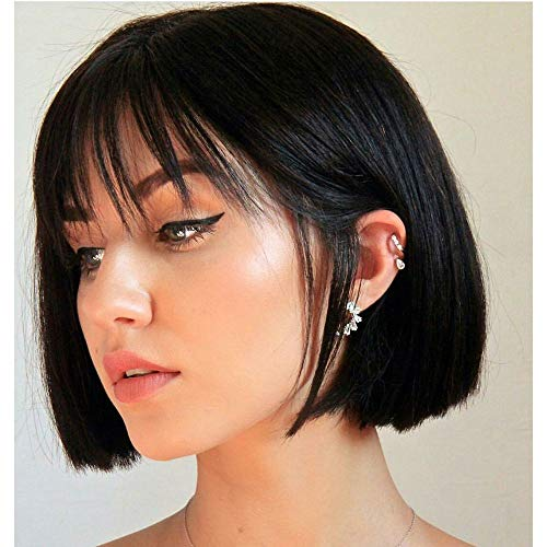 Short Bob Wigs with Bangs,8 Inch Human Hair Bangs Wig Natural Color Black Straight Wig for Black Women 10 A Brazilian Virgin Guleless Wigs