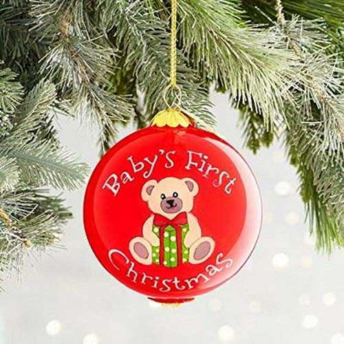 Pier 1 Imports Li Bien 2018 Dated Red Glass Collectible Baby's First Christmas Ornament with Box