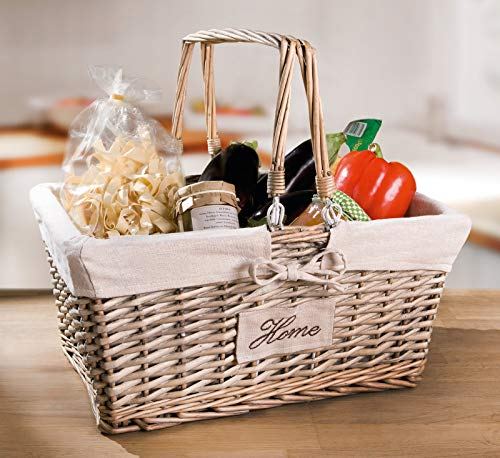 """Dekoleidenschaft Einkaufskorb """"Home"""" mit Henkel, geflochten, stapelbar, Vintage Picknickkorb, Weidenkorb, Tragekorb"""