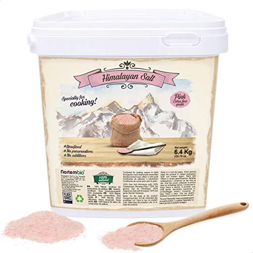 Nortembio Rosa Himalaya-Salz 6,4 Kg. Extra Feinkorn (0,5-1 mm). 100% Natürliches Salz. Reich an Mineralien. Unraffiniert. Ohne Konservierungsstoffe. Aus Punjab Pakistan.