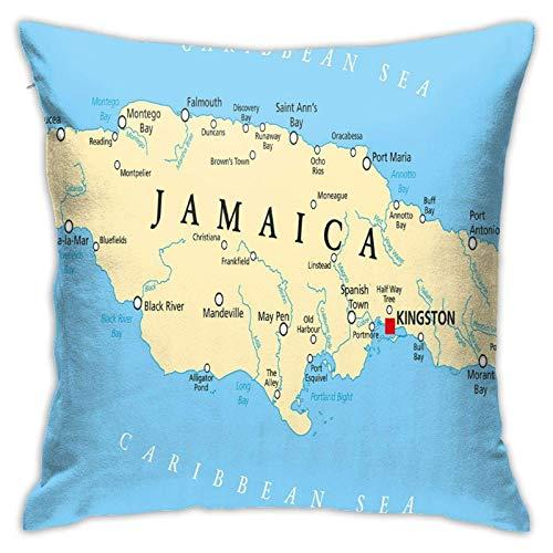 Hdadwy Capital De Jamaica Mapa, Funda de Almohada Decorativa, Funda de Almohada Decorativa para el hogar, Funda de Almohada Cuadrada de 18x18 Pulgadas