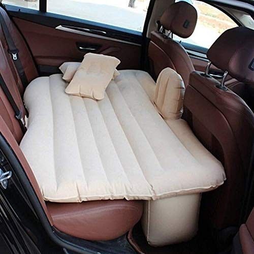 AllExtreme EXUCMC1 Multifunctional Inflatable Car Bed Mattress Universal Car Back Seat Travel Air Inflation with Two Air Pillows, Car Air Pump and Repair Kit (Cream)