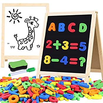 Magnetic Letters and Numbers for Toddlers with Easels 133 Pcs ABC Alphabets Magnets and Dry Erase Magnetic Double-side Board Montessori Letters Kids Educational Classroom Set Preschool Learning Toys