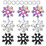 18-in-1 Snowflake Multi-Tool Stainless Steel Snowflake Keychain Tool,Snowflake Screwdriver Tactical Tool for Opener Key chain/Bottle Opener/Outdoor EDC Tools
