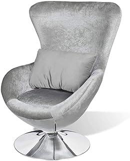 vidaXL Sillón Giratorio con Cojín Forma de Huevo Plateado Asiento Silla Salón