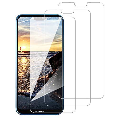 [3 Pack] Amonke Protector Pantalla para Huawei P20 Lite Cristal Templado, Plana pero Incompleta Cobertura, 9H Dureza, HD Transparente, Anti-Burbujas, Screen Protector para Huawei P20 Lite