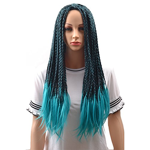 BERON Adult Child Kids Long Braided Fake Hair Wig for Halloween Anime Costume Cosplay Blue and Black Mixed