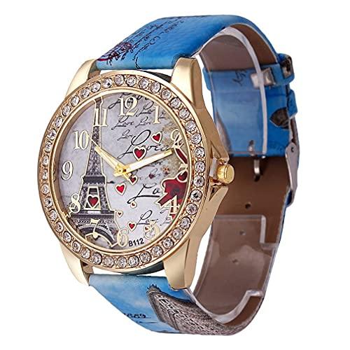 Reloj para Mujer Colorful Eiffel Tower Love Watch Azul