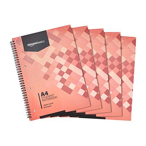 AmazonBasics Schüler-Notizbuch, 160 Seiten, DIN A4, 70 g/m², 5 Stück