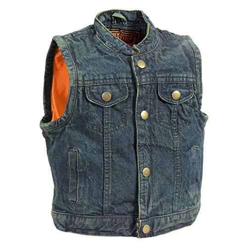 Milwaukee Leather MDK3920 Kids Blue Denim Club Style Snap Front Vest - Medium