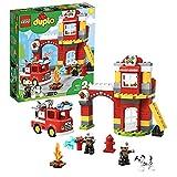 LEGO Duplo Town Caserma dei Pompieri, Luci e Suoni, Autopompa e 2 Figure dei Pompieri, Giocattoli per Bambini dai 2 ai 5 Anni, 10903