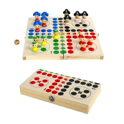 Michel Toys Brettspiel-Set 25x25cm aus Holz, Spielbrett zusammenklappbar (Piraten-Kapernfahrt)