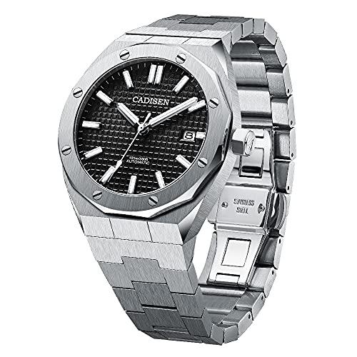 CADISEN Automatik Uhr Herren Saphirglas 100M Wasserdicht Armbanduhr (Schwarzes Gitter)