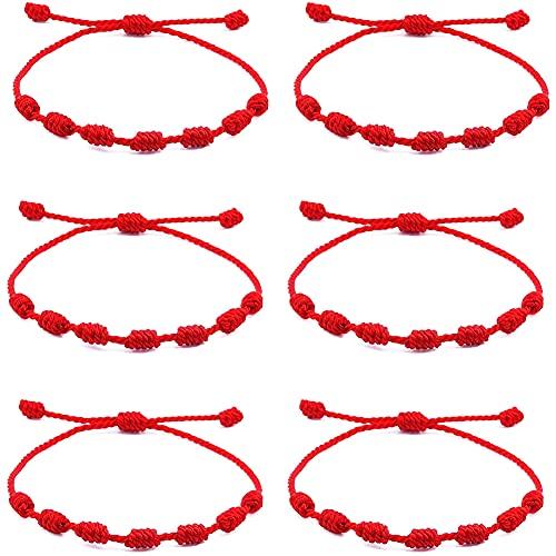 LDY 6 Pezzi Braccialetto con 7 Nodi Bracciale Kabbalah Bracciale di Corda Rossa in Cordoncino di Rosso Bracciale Corda Regolabile per la Protezione Contro Il Malocchio Portafortuna per Uomo e Donna