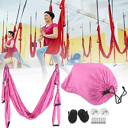 SHYEKYO Hamaca de Yoga, Hamaca de Yoga al Aire Libre Reduce la Fatiga Alivia tu Cuello Herramienta de inversión antigravedad para Interiores para Exteriores(Pink)