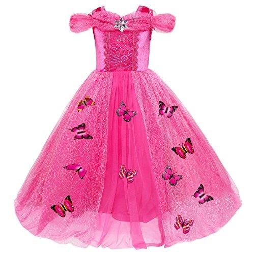 Le SSara Weihnachtsmädchen Prinzessin Cosplay Kostüm Fancy Schmetterling Kleid (110, rose red)