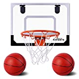AOKESI Basketball for Kids - 16.5' x 12.5' Pro Indoor Mini Basketball Hoop Set for Door & Wall with Complete...