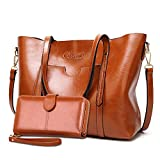 Purses and Handbags for Women Large Shoulder Tote Satchel Purse Work Bags with Matching Wallet (Brown)