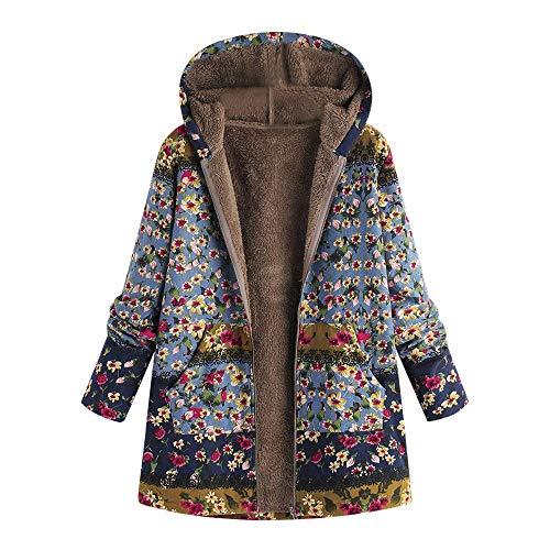 Auifor dames winter warme outwear bloemenprint met capuchon zakken vintage oversize mantel