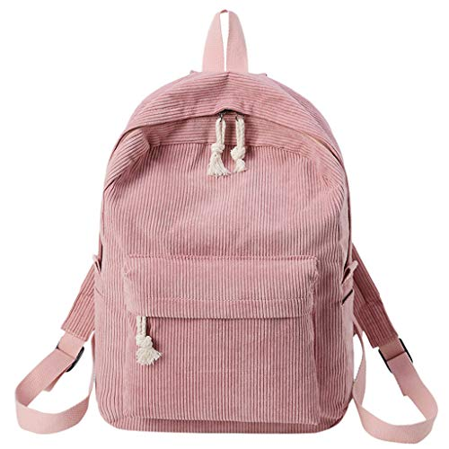 Lazzboy Bag Women Girls Vintage Corduroy Soft Backpacks Solid Plain Student Bags Striped School Daypack(Pink,11.02(L) x4.72(W) x15.75.0(H))