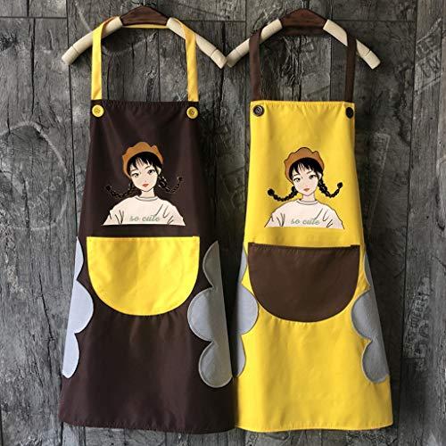 Delantal de Cocina Delantal for las mujeres, a prueba de agua ajustable babero cocinando delantales Pocket-2 Side Coral Velvet toallas for lavavajillas, horno, parrilla, restaurante Incluso Jardín Cra
