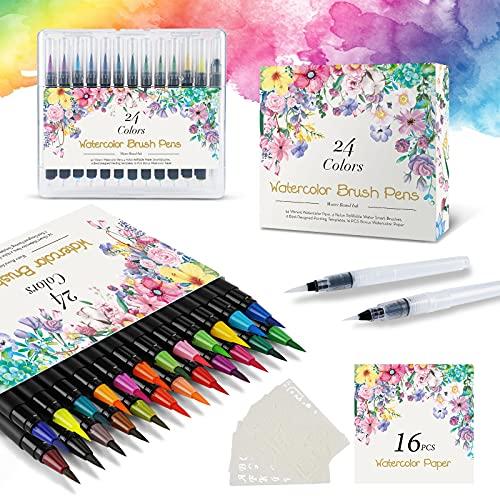 Pinselstifte Set Brush Pen 48er,Aquarellstifte 24 Fabren+ 2 Einem Befüllbaren Wassertankpinsel,handlettering stifte mit flexiblen Nylonspitzen für Malerei und Kalligraphie