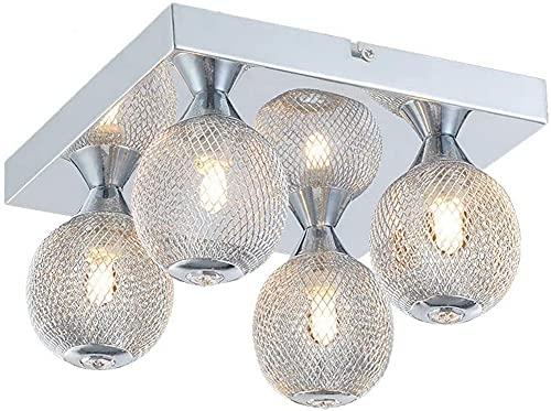 Waqihreu Luz de Techo Pulida Simple y Moderna, luz de Techo Cuadrada, luz de Techo de 4 LED de Estilo Europeo, Utilizada en la Sala de Estar, el Dormitorio, el Comedor y la Cocina