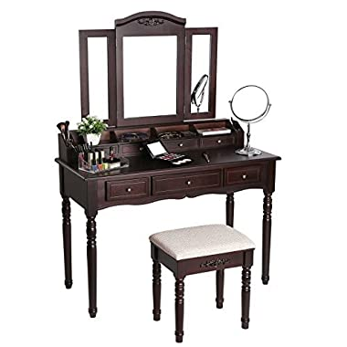 SONGMICS 7 Drawers Vanity Set, Tri-Folding Necklace Hooked Mirror, 6 Organizers Makeup Dressing Table with Cushioned Stool Easy Assembly, Gift for Girls Dark Expresso URDT06Z