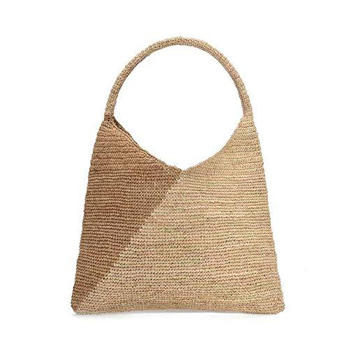 Raffia bolsos de punto para las mujeres hechos a mano casual playa hombro bolso 2020 clásico moda tejido bolso, Marrón, Medium