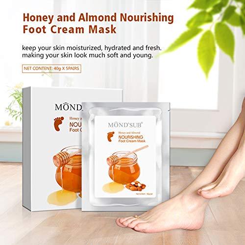5 paires de miel et d'amande MOND'SUB Huile tiaré Masques - Baby Foot Masque hydratant pour la peau sèche à la peau Retrait mort et réparation talons rugueux et Pied Crack