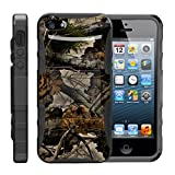 TurtleArmor | Compatible with Apple iPhone SE Case (2016) | iPhone 5/5s Case [Hyper Shock] Hybrid Dual Layer Armor Holster Belt Clip Case Kickstand - Tree Leaves Camouflage