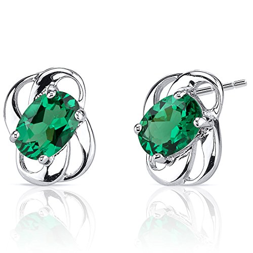 Simulated Emerald Earrings Sterling Silver Oval Shape 1.50 Carats