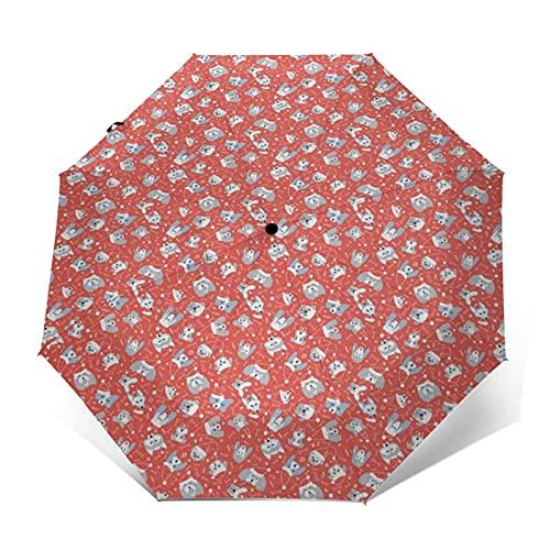 Paraguas Plegable Automático Impermeable Perros 969, Paraguas De Viaje Compacto A Prueba De Viento, Folding Umbrella, Dosel Reforzado, Mango Ergonómico